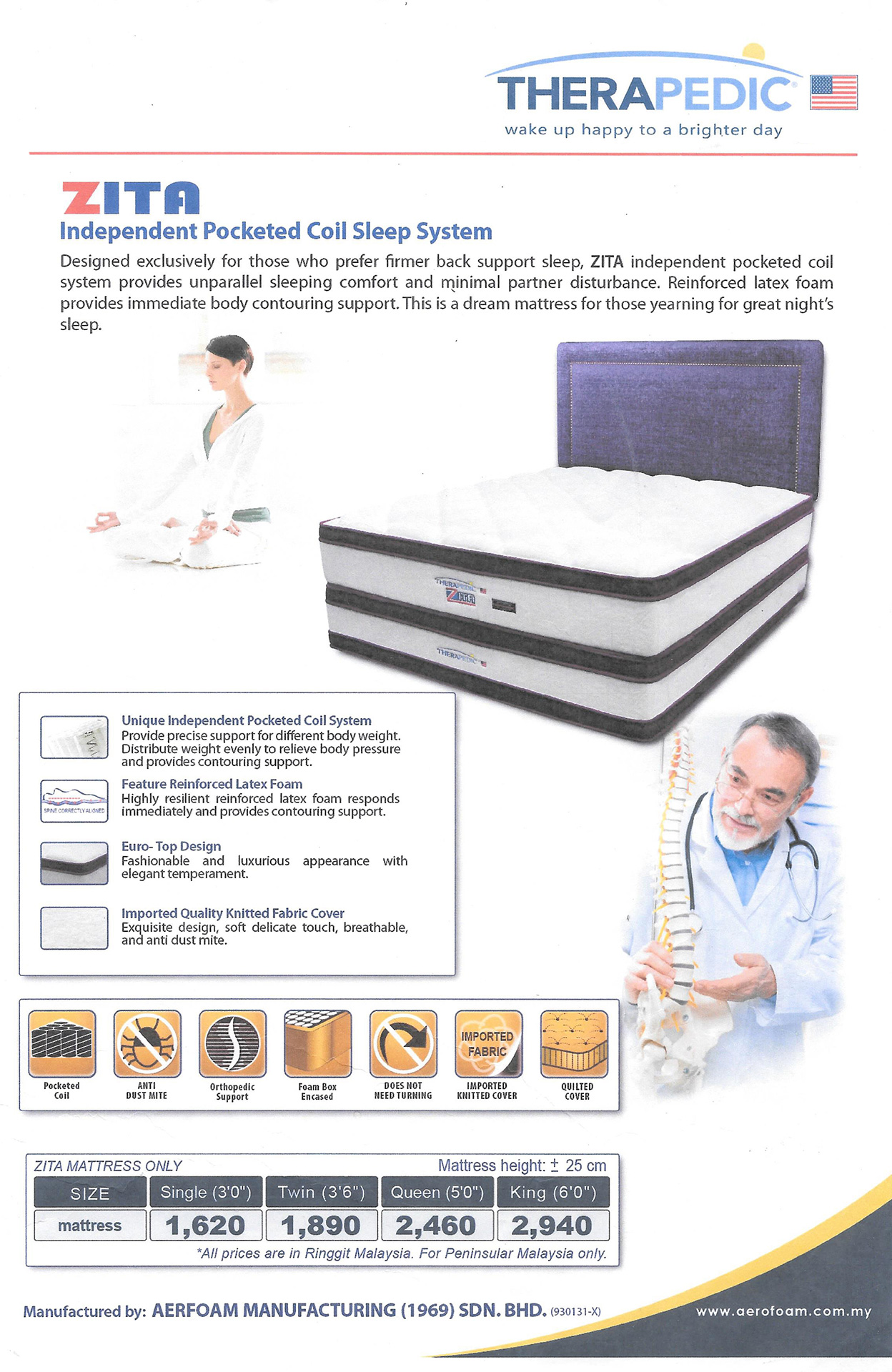 Konsen Furniture Design Therapedic Mattress
